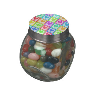 Rainbow Heart Quilt Pattern Glass Candy Jars