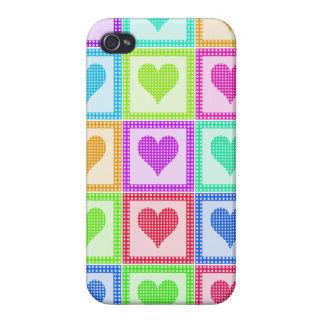 Rainbow Heart Quilt Pattern iPhone 4/4S Case