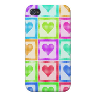 Rainbow Heart Quilt Pattern iPhone 4/4S Cases