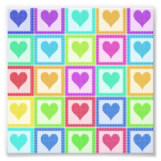 Rainbow Heart Quilt Pattern Photo Print
