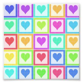 Rainbow Heart Quilt Pattern Art Photo