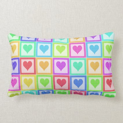 Rainbow Heart Quilt Pattern Pillows