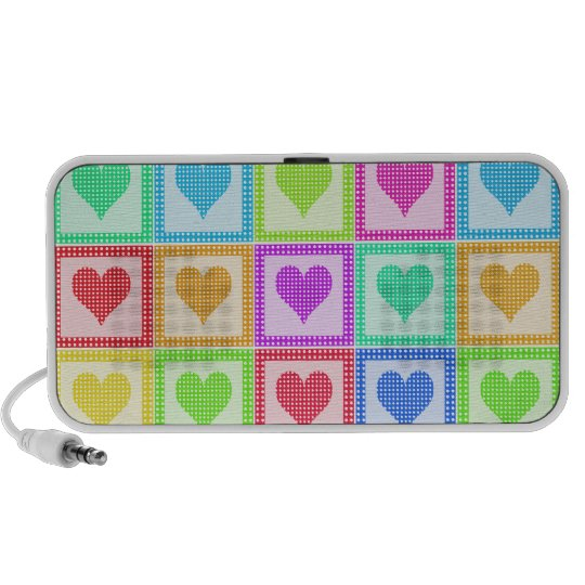 Rainbow Heart Quilt Pattern Portable Speaker