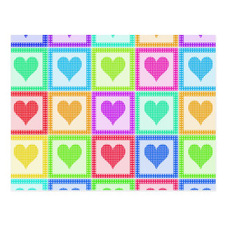 Rainbow Heart Quilt Pattern Postcard