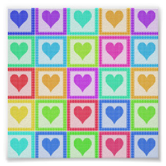 Rainbow Heart Quilt Pattern Poster
