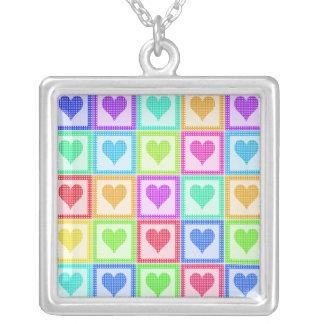 Rainbow Heart Quilt Pattern Square Pendant Necklace
