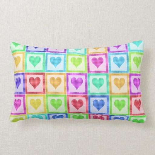 Rainbow Heart Quilt Pattern Throw Pillow Zazzle