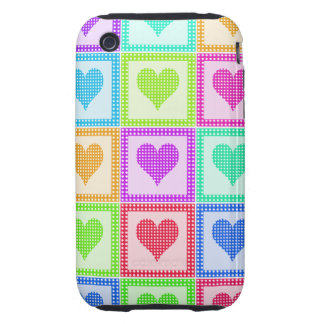 Rainbow Heart Quilt Pattern Tough iPhone 3 Covers
