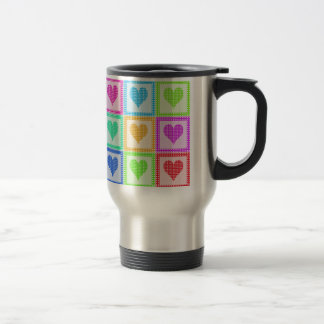 Rainbow Heart Quilt Pattern Travel 15 Oz Stainless Steel Travel Mug