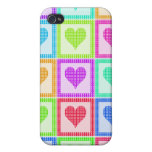 Rainbow Heart Quilt Pern iPhone 4/4S Case