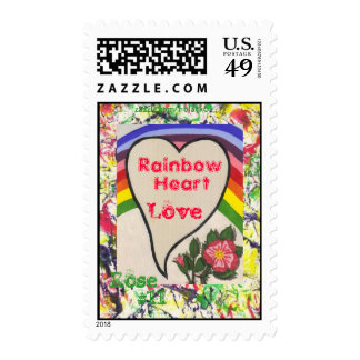 Rainbow Heart & Rose #11 Stamp