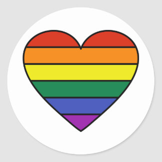 Rainbow Heart Round Stickers