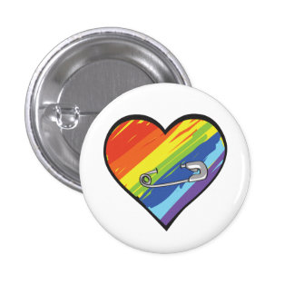 rainbow heart safety pin button