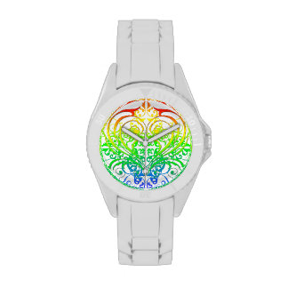 Rainbow Heart Scroll Wrist Watches
