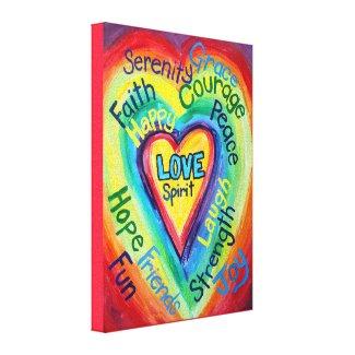 Rainbow Heart Spirit Painting Wrapped Canvas Art