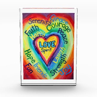Rainbow Heart Spirit Words Art Paperweight Acrylic Award