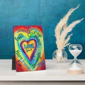 Rainbow Heart Spirit Words Art Plaque Sign