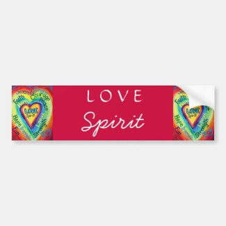 Rainbow Heart Spirit Words Bumper Sticker