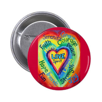 Rainbow Heart Spirit Words Button