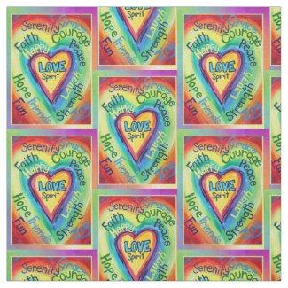 Rainbow Heart Spirit Words Fabric Art Material