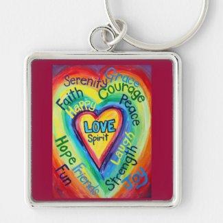 Rainbow Heart Spirit Words Keychain