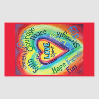 Rainbow Heart Spirit Words Label Decal Stickers