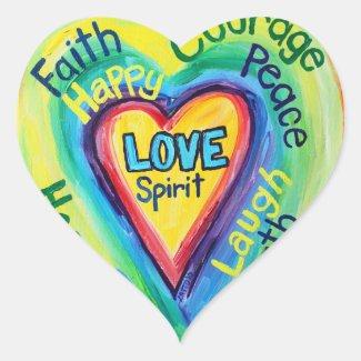 Rainbow Heart Spirit Words Label Sticker Decal