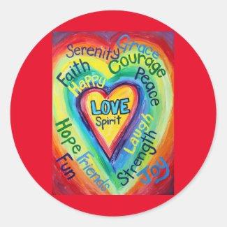 Rainbow Heart Spirit Words Label Sticker Decals