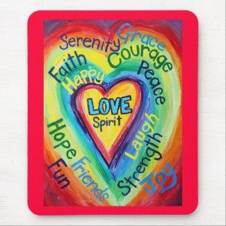 Rainbow Heart Spirit Words Mousepad