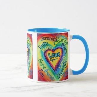 Rainbow Heart Spirit Words Mug