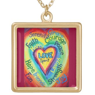 Rainbow Heart Spirit Words Necklace Charm