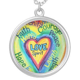 Rainbow Heart Spirit Words Necklace Pendant