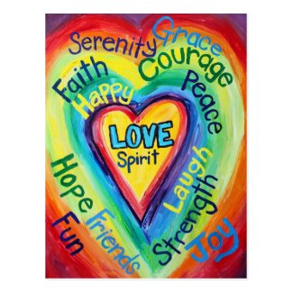 Rainbow Heart Spirit Words Postcard