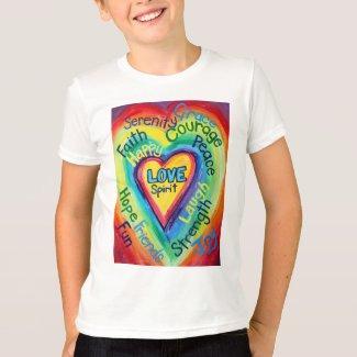 Rainbow Heart Spirit Words Shirt (Double Image)