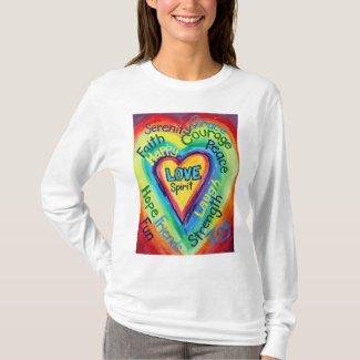 Rainbow Heart Spirit Words Shirt (Front)