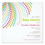 Rainbow Heart Sprinkles Baby Shower Invitation Custom Announcements