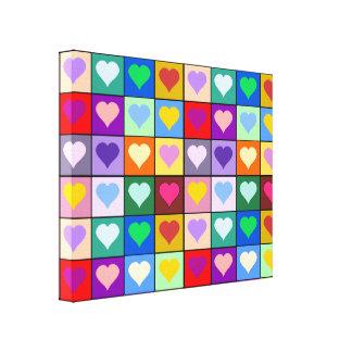 Rainbow heart squares canvas print