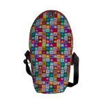 Rainbow heart squares courier bag
