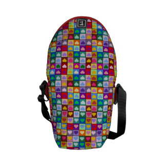 Rainbow heart squares courier bags