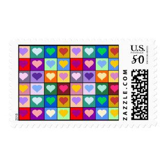 Rainbow heart squares postage