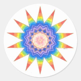 Rainbow Heart Star Round Stickers