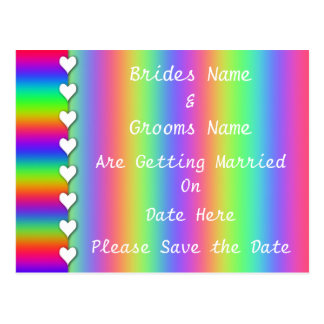 Rainbow Heart Striped Wedding Save The Date Postcard