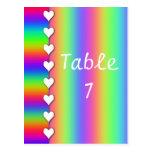 Rainbow Heart Striped Wedding Table Numbers Postcard