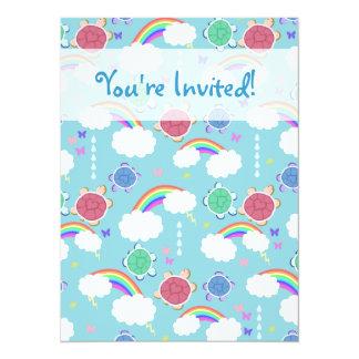 Rainbow Heart Turtle Pattern Custom Invitations