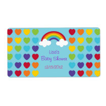 Rainbow Heart Water Bottle Stickers Labels