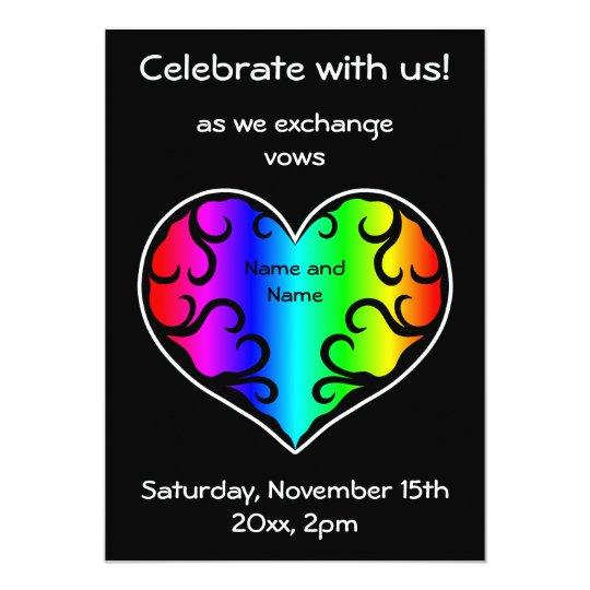 Rainbow heart wedding card