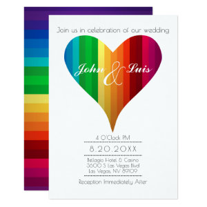 Rainbow Heart Wedding Invitation
