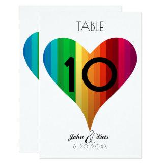 Rainbow Heart Wedding Table Number