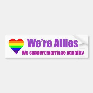 "Rainbow Heart ""We're Allies"" bumper sticker Car Bumper Sticker"
