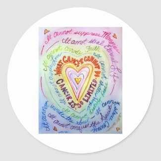 Rainbow Heart What Cancer Cannot Do Poem Decal Classic Round Sticker